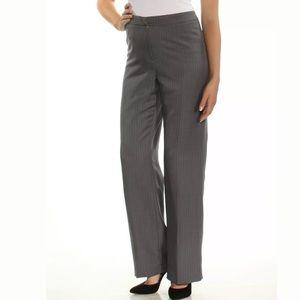 LE SUIT Gray Pinstripe Straight Leg Work Pants